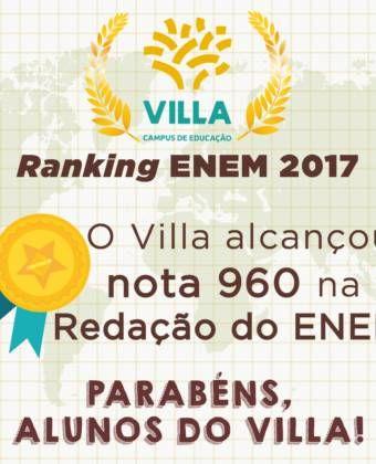 Mais uma vez, o Villa alcança excelente resultado no ENEM!